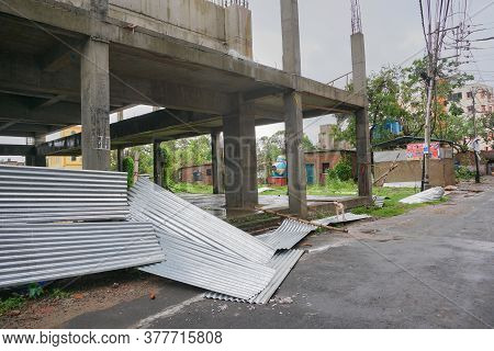 Howrah, West Bengal, India - 21st May 2020 : Super Cyclone Amphan Destructed Aluminium Sheets Used I