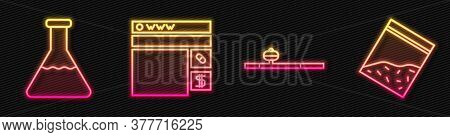 Set Line Opium Pipe, Test Tube And Flask, Buying Drugs Online And Plastic Bag Of Drug. Glowing Neon