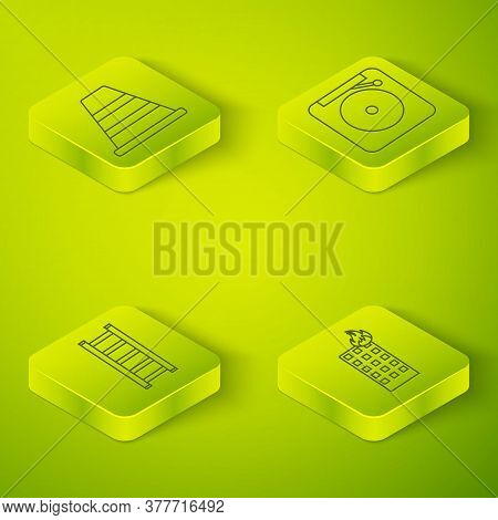 Set Isometric Ringing Alarm Bell, Fire Escape, Fire In Burning Building And Traffic Cone Icon. Vecto