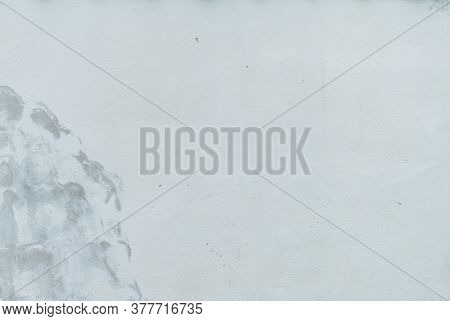 White Concrete Wall Texture Background With Copy Space. Old White Concrete Wall Are Peeling. Paint C