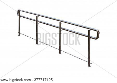 Stainless Steel Railings For Disabled People. Isolated On A White  Background.