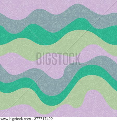 Candy Wrapping Wavy Seamless Pattern. Marine Waves Curly Doodle Vector. Cute Wavy Stripes Childish T