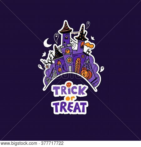 Vector Halloween Illustration With Hand Drawn Doodle Witch Castle. Halloween Poster. Scary Party Inv