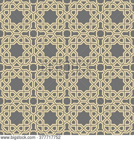 Seamless Vector Ornament In Arabian Style. Geometric Abstract Golden Background. Pattern For Wallpap