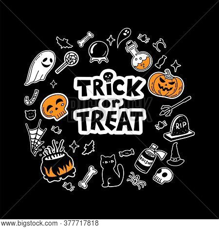 Vector Set Of Characters And Icons For Halloween In Hand Drawn Doodle Style. Pumpkin, Ghost, Candy,