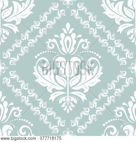 Classic Seamless Vector Pattern. Damask Orient Light Blue And Whitre Ornament. Classic Vintage Backg