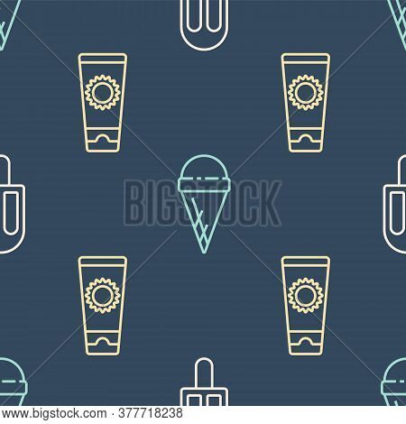 Set Line Ice Cream, Sunscreen Cream In Tube And Ice Cream In Waffle Cone On Seamless Pattern. Vector