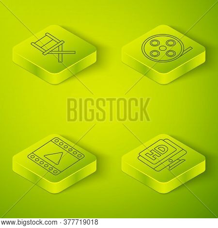 Set Isometric Film Reel, Play Video, Monitor With Hd Video And Director Movie Chair Icon. Vector