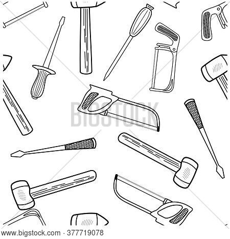 Seamless Pattern With Hand Drawn Working Tools. Collection Of Hand Tools. Handmade Cartoon Made Of V