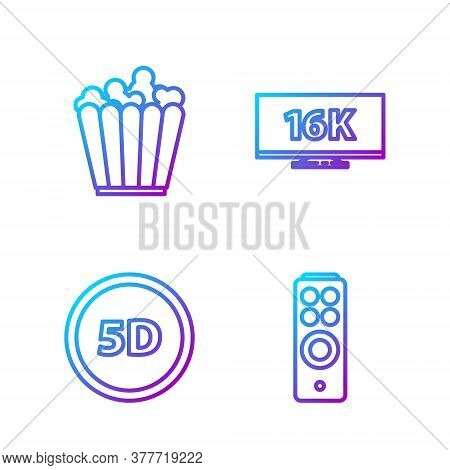 Set Line Remote Control, 5d Virtual Reality, Popcorn In Box And Screen Tv With 16k. Gradient Color I