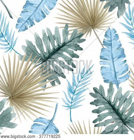 Beautiful Vector Seamless Pattern With Watercolor Tropical Leaves. Stock Illustration