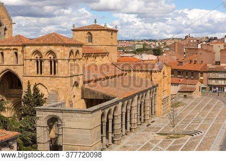 Avila, Spain - June 25, 2019: Basilica of San Vicente. Basilica stands out for its unique carved cenotaph and is one of the best examples of Romanesque architecture in the country