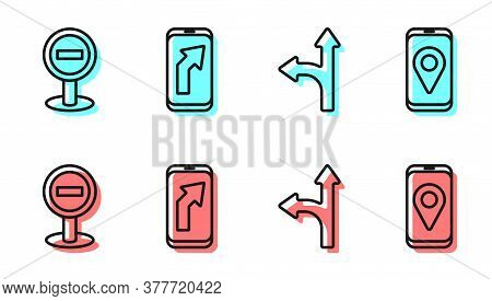 Set Line Road Traffic Sign, Stop Sign, City Map Navigation And City Map Navigation Icon. Vector