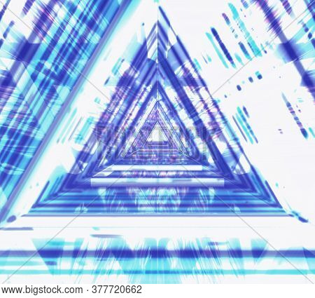 Abstract Futuristic Corridor With Triangles, Fluorescent Ultraviolet Light, Colorful Laser Neon Line