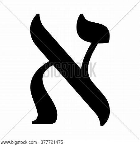 Alef Hebrew Letter Icon On White Background