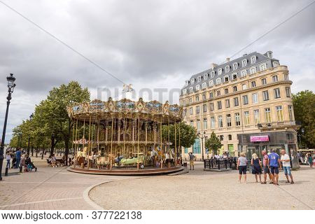 Bordeaux, France, August, 18, 2019: Classic french carousel in a streets of Bordeaux, France
