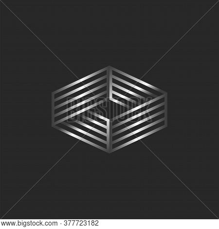 Infinity Logo 3d Isometric Shape, Boxing Ring Logotype, Linear Form Illusion.