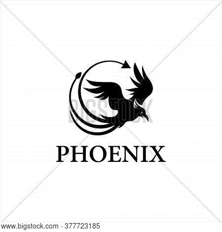 Phoenix Logo Simple Flat Black Color Illustration Of Animal Vector Graphic Design Template Idea