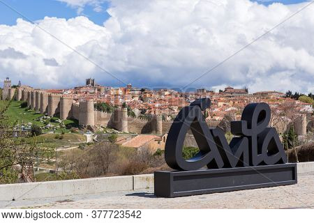 Avila, Spain - June 25, 2019: Avila view from Los cuatro postes (The four post). Castile and Leon, Spain