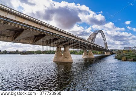 The Lusitania Bridge Built In 1991 Over The Guadiana River In Merida, Extremadura, Spain.