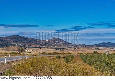 Landscape View To Feria Castle Hill, Extremadura In Spain