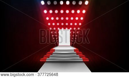 Abstract Futuristic Background Of Stage Step Stairs And Lighting Spotlgiht Stage Background With Glo