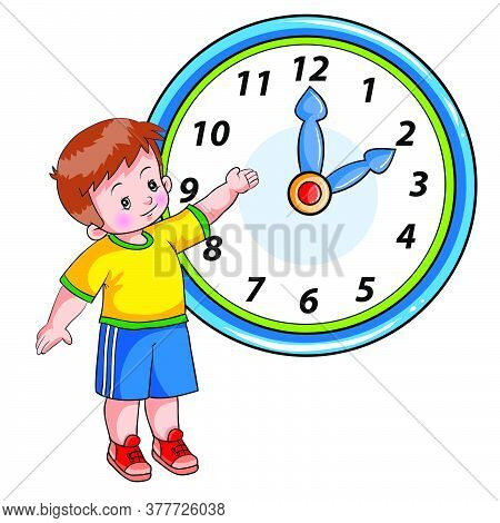 Boy Stands Next To A Large Clock And Shows It With His Hand, The Clock Is Two O'clock, Cartoon Illus