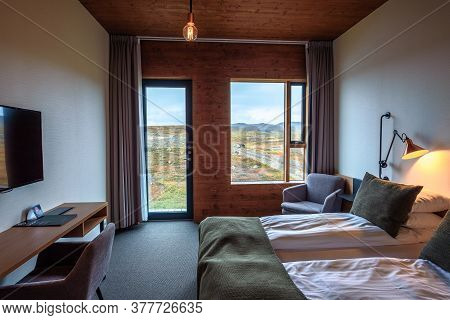 Myvatn, Iceland - September 10, 2019 : Interior Of A Room In Fosshotel Myvatn, A Four-star Hotel In