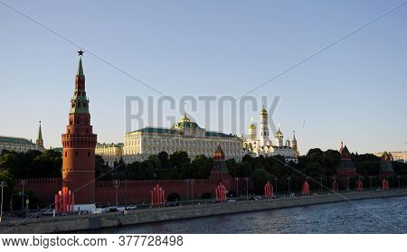 Moscow / Russia - June 24 2020: Moscow Kremlin, Kremlin Embankment, Moscow River.