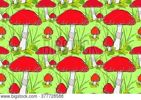Red Fly Agaric Vector Seamless Pattern. Amanita Print Design For Fabric, Wallpaper, Textile, Cover,