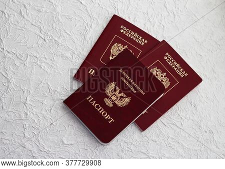 Passport Of The Russian Federation And Passport Of The Donetsk People's Republic . The Inscription I