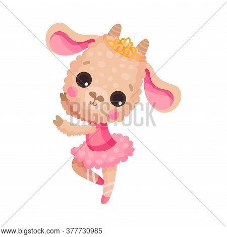 Cute Sheep In Ballerina Dress And Diadem On Head Dancing Vector Illustration