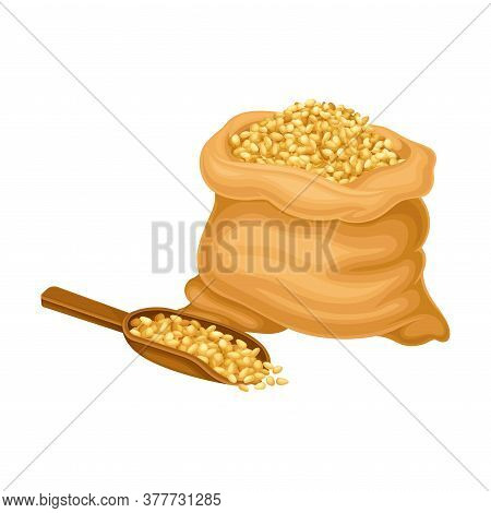 Cereal Grain In Sack As Crop Harvesting For Beer Production Process Vector Illustration