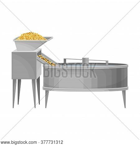 Conveyor With Cereal Grain Malting Process As Beer Production Vector Illustration