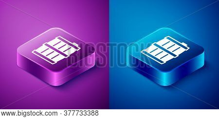 Isometric Wooden Barrel Icon Isolated On Blue And Purple Background. Alcohol Barrel, Drink Container