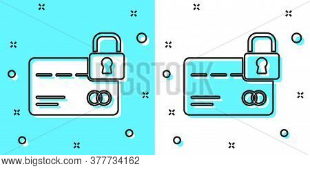 Black Line Credit Card With Lock Icon Isolated On Green And White Background. Locked Bank Card. Secu