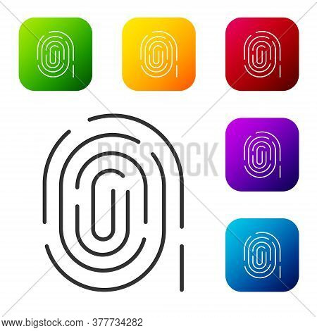 Black Fingerprint Icon Isolated On White Background. Id App Icon. Identification Sign. Touch Id. Set