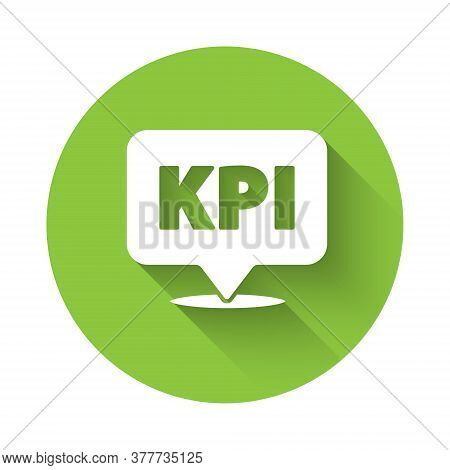 White Kpi - Key Performance Indicator Icon Isolated With Long Shadow. Green Circle Button. Vector