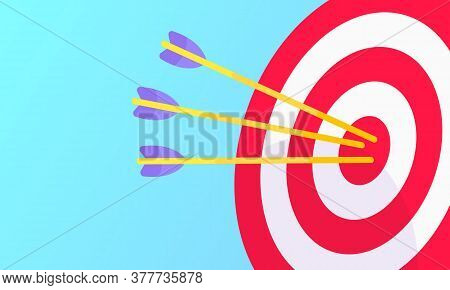 Goal Achievemen Business Concept Sport Target Icon And Arrows In The Bullseye. Teamwork Results Icon