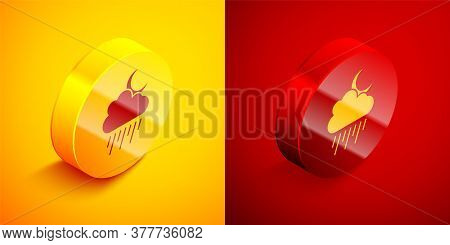 Isometric Cloud With Rain And Moon Icon Isolated On Orange And Red Background. Rain Cloud Precipitat