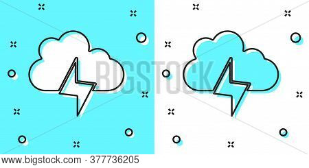 Black Line Storm Icon Isolated On Green And White Background. Cloud And Lightning Sign. Weather Icon