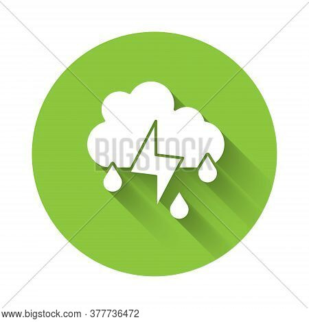 White Cloud With Rain And Lightning Icon Isolated With Long Shadow. Rain Cloud Precipitation With Ra