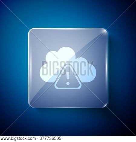 White Storm Warning Icon Isolated On Blue Background. Exclamation Mark In Triangle Symbol. Weather I