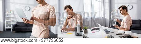 Collage Of Freelancer Using Laptop And Drinking Coffee While Sitting At Table In Living Room, Earnin