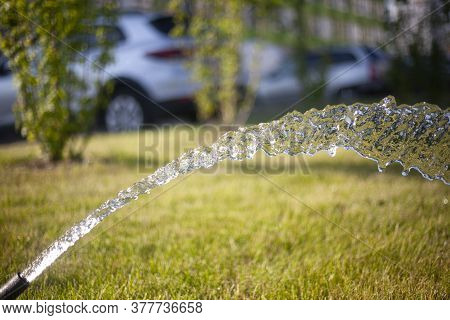 Water Pours From A Hose Onto The Lawn. Watering The Grass. Fluid Flow From A Pipe. Fresh, Transparen