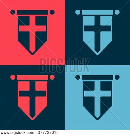 Pop Art England Flag On Pennant Icon Isolated On Color Background. Vector