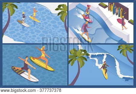 Isometric Scenes For Surf School. Long Wave, Palms, Blue Sea Water. Concept Extreme Sport Outdoor Pe