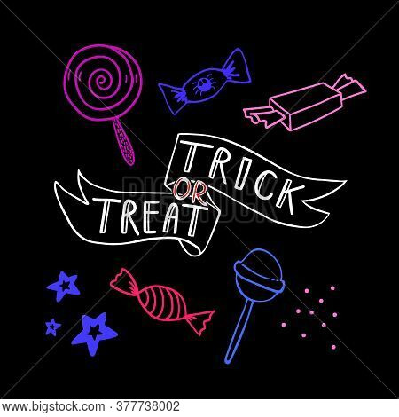 Halloween Doodle Ribbon With Trick Or Treat Lettering With Sweets And Candys. Spooky And Fun Hand Dr