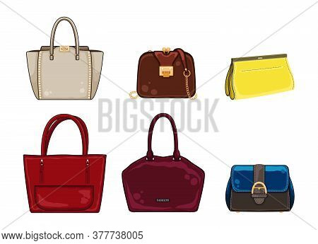Woman Color Bags Designer Ladies Handbag Collection. Different Stylish Leather And Suede Bags, Trend