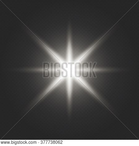 Sun Ray Glow Abstract Shine Light Effect Starburst Sbeam Sunshine Glowing Isolated. White Glowing Li